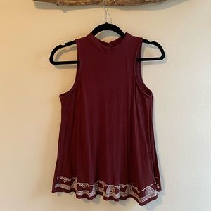 Maroon Top with White Embroidery